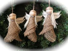 Christmas Ornament burlap angel set of 2 reserve por Mydaisy2000