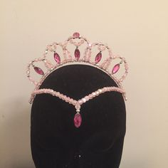 Ballet dance pink beaded tiara with eye shaped by kyliestiaras