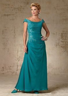 A-line Off-the-shoulder Floor-length in Chiffon Mother of the Bride Dress