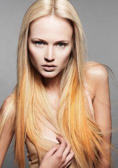 blond to orange Hot Hair Colors, Bright Hair Colors, Pastel Ombre, Orange Ombre, Orange Orange, Light Orange, Dipped Hair, Natural Hair Styles, Long Hair Styles