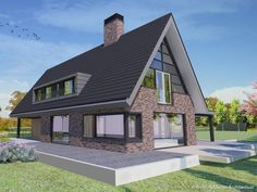 Dj House, House Roof, Dormer Bungalow, Modern Family House, Build My Own House, Thatched House, American Houses, House Layouts, Building Design