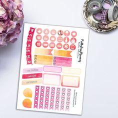 Watercolor functional stickers / Erin Condren vertical / ECLP weekly stickers | PrettyEasyPlanning