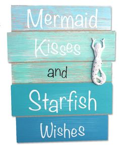Mermaid Kisses and Starfish Wishes Wood Plank Sign - Coastal