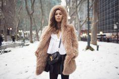 hooded coat + LV Vivienne bag <3