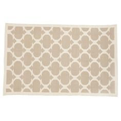 The Land of Nod | Kids' Rugs: Kids Khaki Woven Cotton Rug in Patterned Rugs