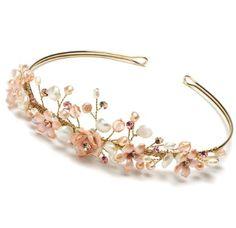 Amazon.com: Wedding Headband Bridal Tiara Gold & Pink Floral 754G: Clothing