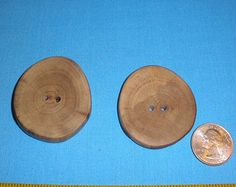"2 Large Wood Buttons 1 3/4"" x 2"", Maple Tree Branch, 2 Hole Rustic Wooden Buttons, Handcrafted for Knitting, Crochet, Home Decor or Crafts"