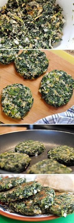 "spinach ""burgers"". These are high in protein, low in carbs and absolutely delicious. **Use Pork rinds instead of Breadcrumbs"