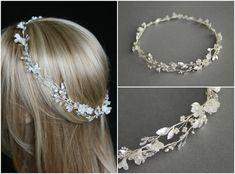 Серебряный свадебный ореол слоновая кость цветы