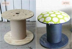 Turn an electrical spool into a toadstool. | 21 Weird Home Decorating Tricks That Might Actually Work