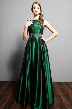 Green A-Line/Princess Long/Floor-length Taffeta Dark  Evening Dress ED0B9F