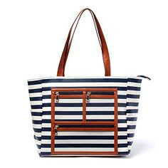 Striped Women Canvas Handbag With Three Zipper Pockets Compartment Purse Bag Faux Leather Bottom Casual Tote Can Be Embroidery Canvas Handbags, Cheap Handbags, Satchel Handbags, Leather Handbags, Leather Diaper Bags, Marketing Presentation, Clear Tote Bags, Wholesale Purses, Bag Display
