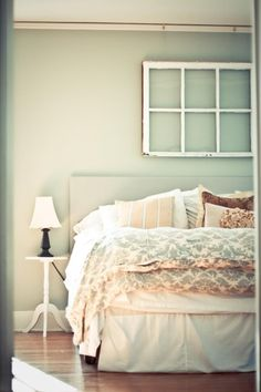 bedroom ideas, like the window frame on the wall! Makes it look vintage Bedroom Decor, Bedroom Inspirations, Home, Old Window Frames, Bedroom, House, Interior, Bedroom Makeover, Home Bedroom