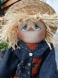 Primitive Fall Halloween Scarecrow Doll Pattern INSTANT DOWNLOAD Waiting for Dorothy #101HAFAIR