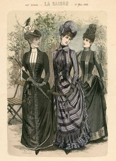 1888 May, Plate 032 :: Costume Institute Fashion Plates Lily Elsie, 1880s Fashion, Edwardian Fashion, Historical Costume, Historical Clothing, Edwardian Gowns, Gravure Illustration, Retro Fashion, Vintage Fashion