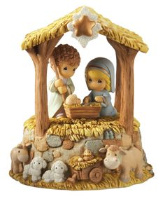 The Holy Family's stay in the stable is sweetly captured in highly detailed resin. Christmas Nativity, A Christmas Story, Christmas Fun, Christmas Decorations, Christmas Ornaments, Holiday Decor, Christmas Balls, Nativity Ornaments, Xmas