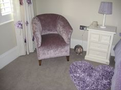 Here is a very good example of how to dress a little girls room, avoiding the predictable pink. The crushed velvet is J Brown Modena - 13930 violet. Lilac, Purple, Pink, Bespoke Sofas, Cushion Filling, Little Girl Rooms, Crushed Velvet, Tub Chair, Sofa Bed