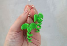 Lime Green Dragon Earrings- Polymer Clay, Wyvern, Flying