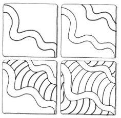 Schritt für Schritt Anleitung Tangle Waves Wellen vier kleine Bilder