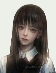 E korean school girl Anime Art Girl, Manga Girl, Anime Girls, Arte Peculiar, Amarillis, 8bit Art, 3d Fantasy, Realistic Paintings, Cg Art