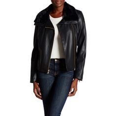 Cole Haan Faux Fur Trimmed Faux Leather Jacket ($87) ❤ liked on Polyvore featuring outerwear, jackets, black, synthetic leather jacket, fleece-lined jackets, vegan leather jacket, cole haan jacket and faux fur lined leather jacket