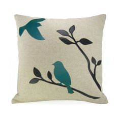 Turquoise bird throw pillow case - Black and teal birds In nature applique on natural linen canvas - Modern home decor aduley