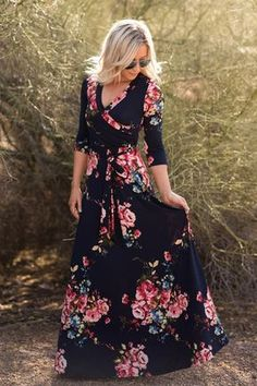 41 Floral Maxi Dress Ideas for Summer You'll Love Maxi Wrap Dress, Boho Dress, Dress Skirt, Dress Up, Wrap Dresses, Maxi Skirts, Dresses Dresses, Maxi Dress Sleeves, Cute Maxi Dress
