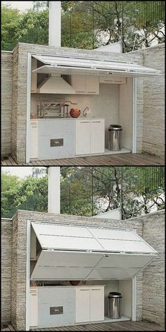"The problem with most outdoor kitchen is that they're exposed. Here's an idea that will keep them protected from the elements AND provide shade for the chef in your family! If you love outdoor cooking, then head over to our ""Outdoor Kitchen"" gallery http"