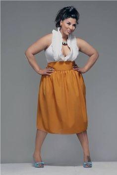 JIBRI Plus Size High Waist Flare Skirt, $100