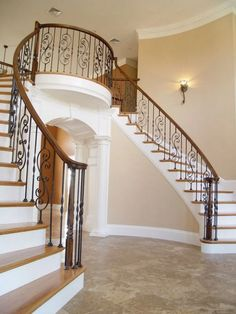 Double Staircase, Staircase Railings, Staircase Design, Staircases, Banisters, Staircase Storage, Staircase Ideas, Wrought Iron Stair Railing, Iron Balusters