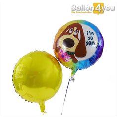 """Ballonbukett - Es tut mir leid (Hund mit Blumen)  Entschuldigung im Doppelpack! Egal, wofür Sie um Verzeihung bitten wollen - mit diesem Ballonbukett gelingt die Entschuldigung garantiert. Denn mal ehrlich: Wer kann diesem treuherzigen """"Hundblick"""" schon wiederstehen!?"""