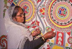Ganga Devi — Art Lounge Coaster, Art Forms Of India, Craft Museum, Indian Arts And Crafts, Mandala Art Lesson, India Culture, Tibetan Art, Madhubani Art, Lounge