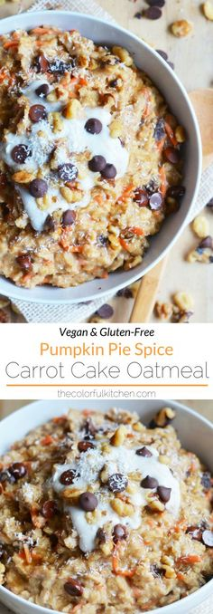 Pumpkin Pie Spice Carrot Cake Oatmeal | Vegan & Gluten-Free recipe.  This yummy oatmeal comes fully loaded with vegan yogurt, chocolate chips, walnuts and coconut on top. It's more like a dessert than a breakfast and it's guaranteed to be a hit at brunch! #vegan #veganbrunch #pumpkinspice #veganrecipes