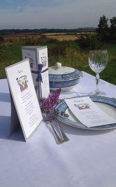 Choose from three styles of menu, camper-van wedding stationery