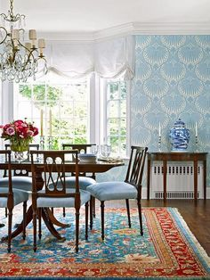 Client Project Reveal - Classic Blue and White Dining Room and Powder Room…