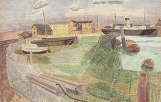 'Newhaven No. by Edward Bawden, 1935 © Estate of Edward Bawden Sophie Campbell, Newhaven, English Artists, Historian, Great Artists, How To Look Better, Scenery, British, Landscape