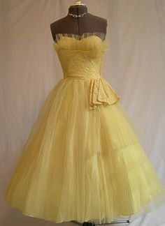 vintage prom or party dress, yellow