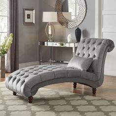 Knightsbridge Tufted Oversized Velvet Chaise Lounge by iNSPIRE Q Artisan