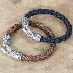 Leather and Britannia metal bracelet, handmade in the U.S.A. by Oberon Design, offering a variety of bracelet styles. - Constructed from hand cast Britannia metal and leather cord. - Easy to use clasp