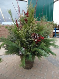 Outdoor Christmas planter. I wish mine looked this good!