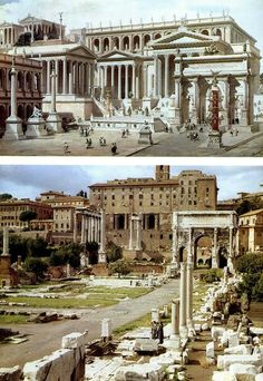 Ancient Rome (before and after) después of the Roman Forum Architecture Antique, Architecture Classique, Roman Architecture, Cultural Architecture, Building Architecture, Ancient Ruins, Ancient Rome, Ancient Greece, Ancient Artifacts