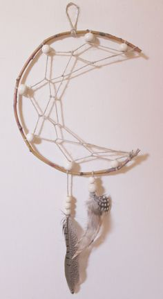Crescent Moon Dreamcatcher made by Alex Behn | Shantiwinds on Etsy #dreamcatcher #moon #crescentmoon