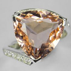 Natural 7.8CT Trillion Cut Peach Morganite and White Sapphire Engagement Promise Anniversary Wedding Ring Size 7.25