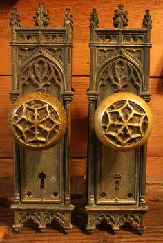 Reserved For Deana Antique Brass Gothic Doorknob Set