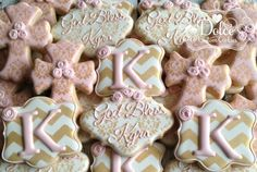 Baptism Pink And Gold Christening Baby Blessing Communion Confirmation Cookies - 1 Dozen (12 Pcs) by Dolce Custom Cookies on Gourmly