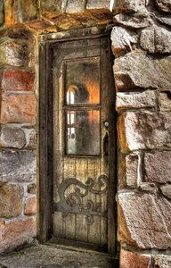 wooden door in stone