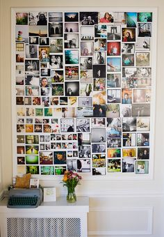 Photos arranged on a wall with molding tacked around them.  Cheaper -- but also more permanent -- than a big old frame.