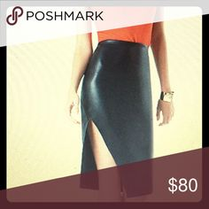 Brand new with tags. New faux leather midi skirt. BeBe never worn midi skirt with slit. Very sexy. Didn't fit as snugly on me as I would have liked it to. Great for a date night or even work.  Reduced so you get discounted shipping. Today only! bebe Skirts Midi