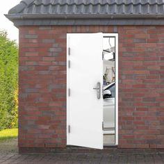 Garage side door in situ Side Hinged Garage Doors, Garage Door Hinges, Side Door, Garage Door Security, Steel Security Doors, Steel Doors, Frame Sizes, Galvanized Steel, Double Doors