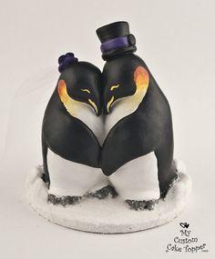 Penguin Love Custom Wedding Cake Topper by MyCustomCakeTopper, $110.00